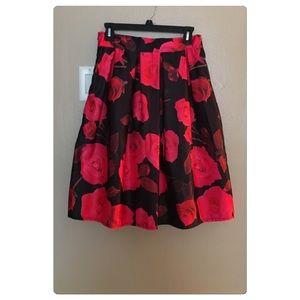 Dresses & Skirts - Floral Midi Skirt Pink & Black